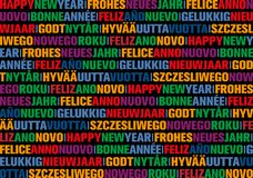 Happy new year greeting card in different languages. Colorful happy new year greeting card in different languages royalty free illustration