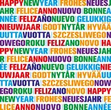 Happy new year greeting card in different languages. Colorful happy new year greeting card in different languages stock illustration