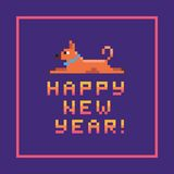 2018 Happy New Year greeting card with the dog. Chinese Oriental calendar . Vector illustration Royalty Free Stock Photography