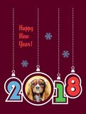 Happy New Year 2018 greeting card. Year of the Dog. Vector illustration. vector illustration