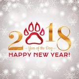 New Year 2018 greeting card. Happy New Year 2018! Greeting card for Year of the Dog. Vector illustration. Elegant design with snowy background Royalty Free Stock Photo