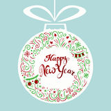 Happy New Year greeting card. Doodle style freehand lettering and wreath line art drawing. Hanging ball with bow label. Vector illustration Royalty Free Stock Photo