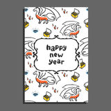 Happy new year greeting card with dragon and treasures. Cute cartoon vector childish pattern on white background stock illustration