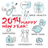 2014 Happy New Year Greeting Card. Greeting Card 2014, happy new year, drawn humorous vector illustration