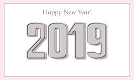 Happy New Year 2019 greeting card. Elegant 3D numbers stock photos