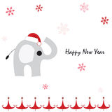 Happy new year greeting card with elephant and snowflakes Stock Image