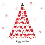 Happy new year greeting card with elephant and snowflakes Royalty Free Stock Photos