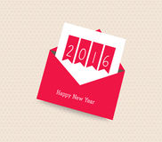Happy new year 2016. Greeting card with envelope.  vector illustration