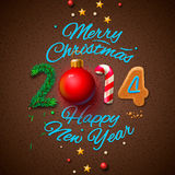 Happy New Year 2014 Greeting Card. Eps10 illustration Royalty Free Stock Images