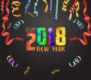 Happy New Year 2018 greeting card. Festive illustration with colorful confetti background.  Stock Photography
