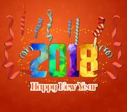 Happy New Year 2018 greeting card. Festive illustration with colorful confetti background.  Stock Image