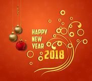 Happy New Year 2018 greeting card. Festive illustration with colorful confetti background.  Royalty Free Stock Photo