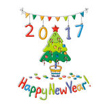 Happy New Year greeting card with fir. Cartoon style. Hand draw vector illustration. Bright colors Stock Images