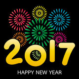 2017 Happy New Year greeting card with fireworks. Celebration on black background Stock Images