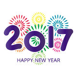 2017 Happy New Year greeting card. With fireworks colorful celebration on white background vector illustration