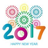 2017 Happy New Year greeting card. With fireworks colorful celebration on white background Stock Photography