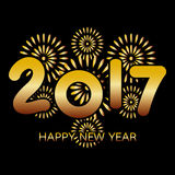 2017 Happy New Year greeting card. With fireworks gold celebration on black background Stock Image