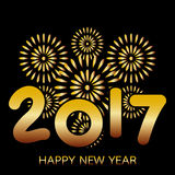2017 Happy New Year greeting card. With fireworks gold celebration on black background vector illustration