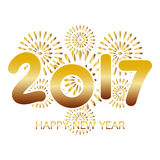 2017 Happy New Year greeting card with fireworks gold. Celebration on white background Stock Images