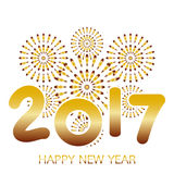 2017 Happy New Year greeting card with fireworks gold. Celebration on white background Royalty Free Stock Photos