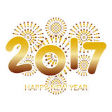 2017 Happy New Year greeting card with fireworks gold. Celebration on white background Royalty Free Stock Photography