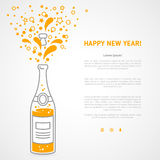 Happy new year 2016 greeting card with flat. Happy new year 2016 greeting card or poster design with minimalistic line flat champagne explosion bottle and place royalty free illustration