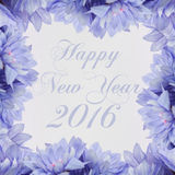 Happy New Year 2016 greeting card with flowers. Blue flower frame on white background Royalty Free Stock Photography