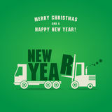 Happy New Year greeting card. Fork lift truck at work Stock Images