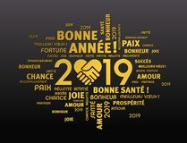 Happy New Year 2019 Greeting card in French. Gold greeting words in French around New Year date 2019, composed with a handshake heart symbol, on black background vector illustration