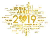 Happy New Year 2019 Greeting card in French. Gold greeting words in French around New Year date 2019, composed with a handshake heart symbol, isolated on white vector illustration