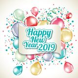 Happy New Year 2019. Greeting card full vector vector illustration