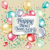 Happy New Year 2019. Greeting card full vector royalty free illustration