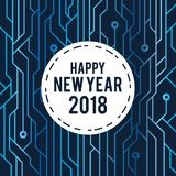 Happy New Year 2018 Greeting Card futuristic blue circuit line art Style. Image and Vector Stock Photo