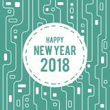 Happy New Year 2018 Greeting Card futuristic circuit line art Style. Image and Vector Royalty Free Stock Images