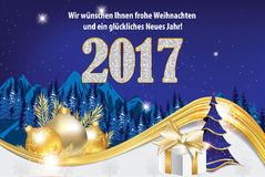 Happy New Year 2017 greeting card in German language Stock Images