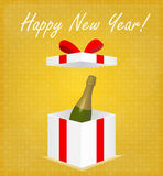 Happy New Year Greeting Card Gift Box with Champagne Golden Background Stock Images
