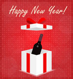 Happy New Year Greeting Card Gift Box with Wine Red Background Royalty Free Stock Images