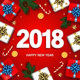 Happy New Year greeting card with gifts boxes set with bow. Vect. Or decoration with confetti and gold stars. Christmas typographical background with fir Stock Photography