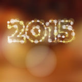 Happy new year greeting card, 2015 glitter lights  Stock Images