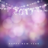 Happy new year greeting card with 2017. Glittering lights and party flags. Happy new year greeting card with 2017, glittering lights and party flags. Modern royalty free illustration