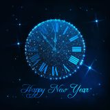 Happy New Year greeting card with glowing low poly roman numeral clock on dark blue background. Happy New Year greeting card template with glowing low poly royalty free illustration