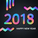 2018 Happy New Year greeting card with glowing multi colored design. Vector illustration Stock Photos