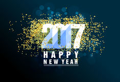 Happy New Year greeting card 2017 with gold. Happy New Year greeting card stock illustration