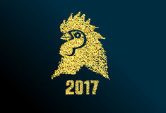 Happy New Year greeting card 2017 with gold. Happy New Year greeting card royalty free illustration