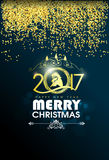 Happy New Year greeting card 2017 with gold. Happy New Year greeting card vector illustration