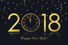 Happy New Year 2018 greeting card with gold clock and golden confetti. Vector. royalty free illustration