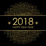 2018 Happy New Year greeting card with gold decorations and snowflakes.. Template for Christmas poster. Vector illustration Stock Image