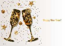Happy New Year  greeting card with gold drinking glasses. Holiday glowing background. Stars, snowflakes with golden pattern. Concept for New Year banner Royalty Free Stock Photography