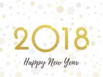 2018 Happy New Year greeting card gold glitter background vector numbers design. 2018 Happy New Year gold glitter greeting card on white premium luxury sparkling Stock Images