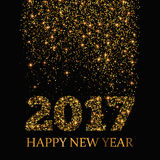Happy New Year 2017 greeting card. Gold glitter stardust background. EPS10 Royalty Free Stock Photography